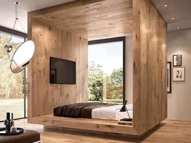 Boiserie in rovere camera da letto