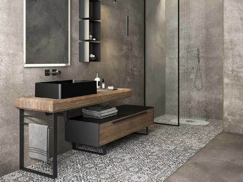 Mobile lavabo da terra singolo con specchio per bagno in stile moderno