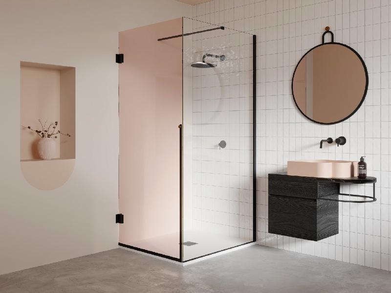 Box doccia angolare con porta a battente per bagno piccolo