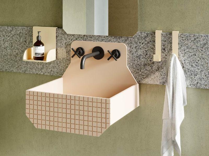 Lavabo sospeso in rosa antico per bagno piccolo in stile moderno