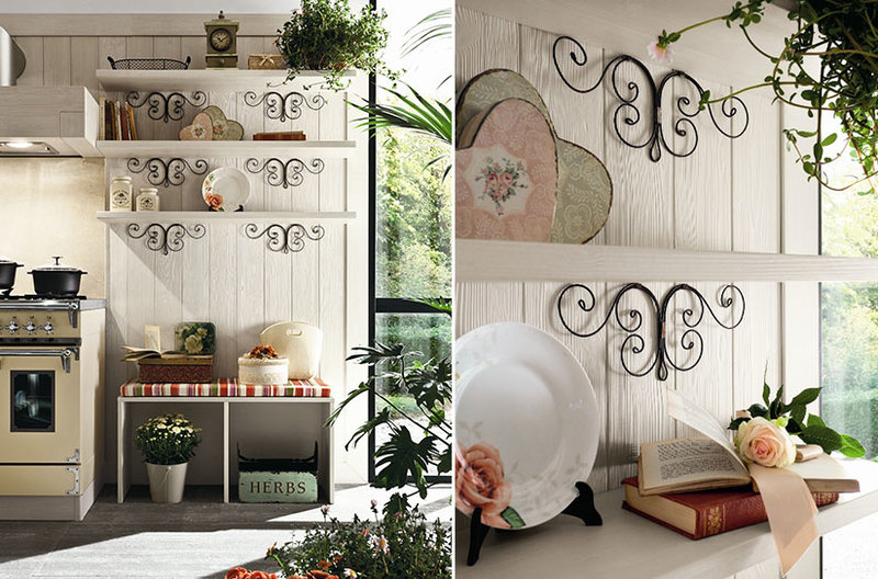 Cucine country chic, decorazioni romantiche