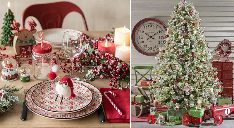 Addobbi natalizi in verde, rosso e legno