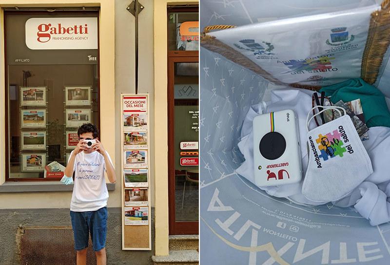 Lorenzo davanti ad agenzia Gabetti